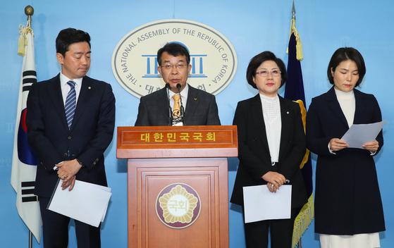 29일 공동 합의문 발표하는 여야 4당 수석대변인. 연합뉴스