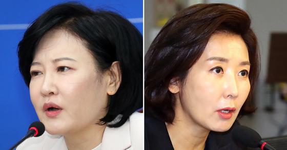 민주당 영입 인재인 이수진 전 부장판사(왼쪽)과 나경원 미래통합당 의원. 연합뉴스