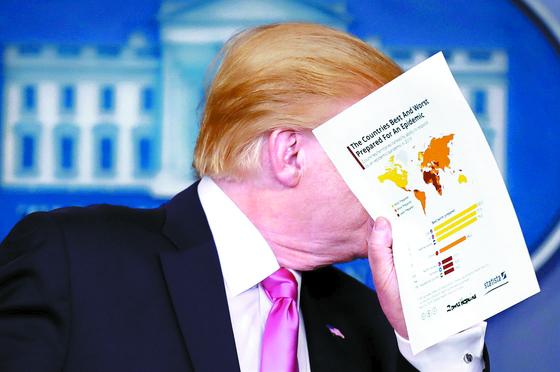 """도널드 트럼프 미국 대통령이 26일(현지시간) 백악관에서 기자회견 도중 참모와 대화하고 있다. 트럼프 대통령은 한국 여행 금지에 대해 '지금은 때가 아니다""""고 답했다. [로이터=연합뉴스]"""