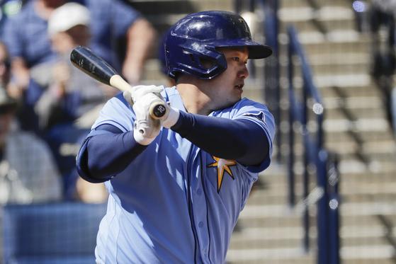 양키스전에서 첫 타점을 올리는 탬파베이 최지만. [AP=연합뉴스]