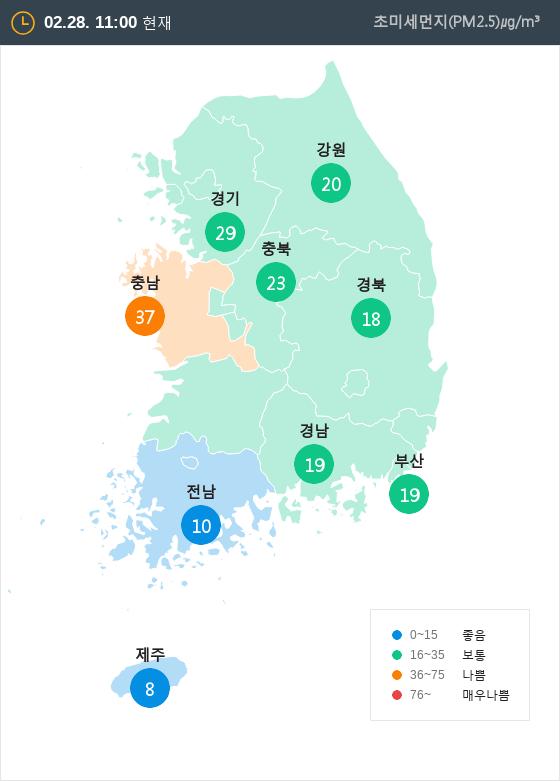 [2월 28일 PM2.5]  오전 11시 전국 초미세먼지 현황