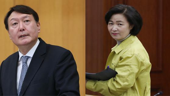 윤석열 검찰총장과 추미애 법무부장관. [중앙일보, 뉴스1]