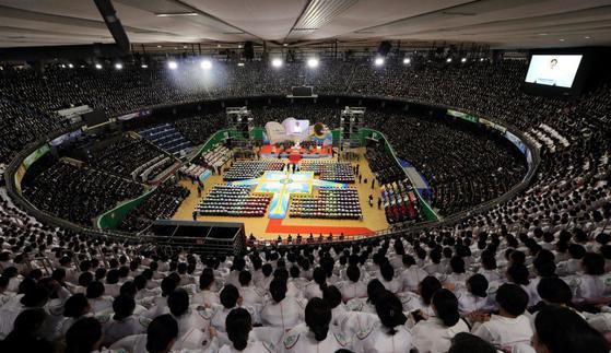 지난 2018년 신천지예수교회의 '창립 34주년 기념예배' 모습 [사진 신천지예수교회]