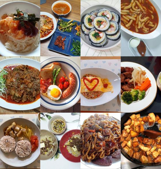 맘카페·블로그에 '코로나 삼시세끼'란 제목으로 올라온 음식 사진들. 김밥·떡볶이·짜장라면부터 케첩으로 하트를 그린 김치볶음밥과 주먹밥까지 종류가 다양하다. 하루 세끼 식사를 매번 바꿔서 준비해야 하는 고민에 공감한 회원들이 공유하기 위해 올리는 메뉴들이다. [사진 SNS 캡처]
