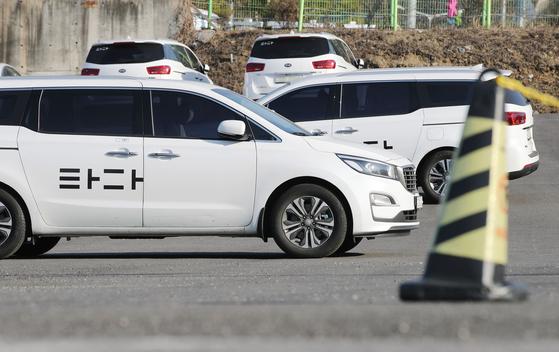 5일 오후 서울 서초구의 한 차고지에 타다가 주차돼있다. [연합뉴스]