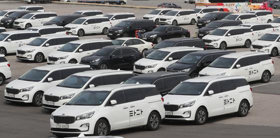 9일 서울 서초구의 한 차고지에 타다 차량이 주차돼 있다. 뉴스1