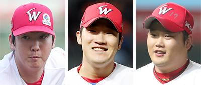 문승원, 박종훈, 김태훈(왼쪽부터). [뉴스1]