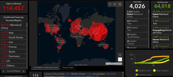 10일 기준 세계 인플루엔자 감시망인 'GISAID'에 올라온 세계 코로나19 발병 현황 [사진 GISAID 캡쳐]
