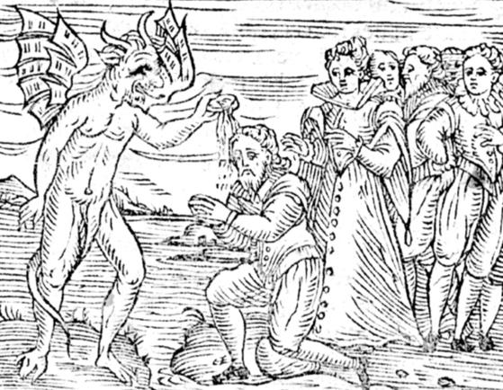 17세기 초반 마녀가 악마로부터 세례를 받는 모습을 그린 상상화.