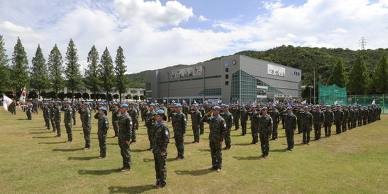 지난해 7월 인천시 계양구 국제평화지원단에서 한빛부대 11진 환송식이 열리고 있다. [뉴스1]
