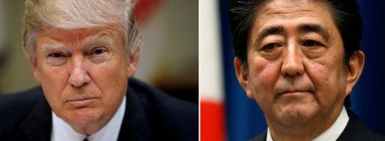 13일 오전 도널드 트럼프 미국 대통령과 아베 신조 일본 총리가 전화협의를 했다. [로이터=뉴스1]