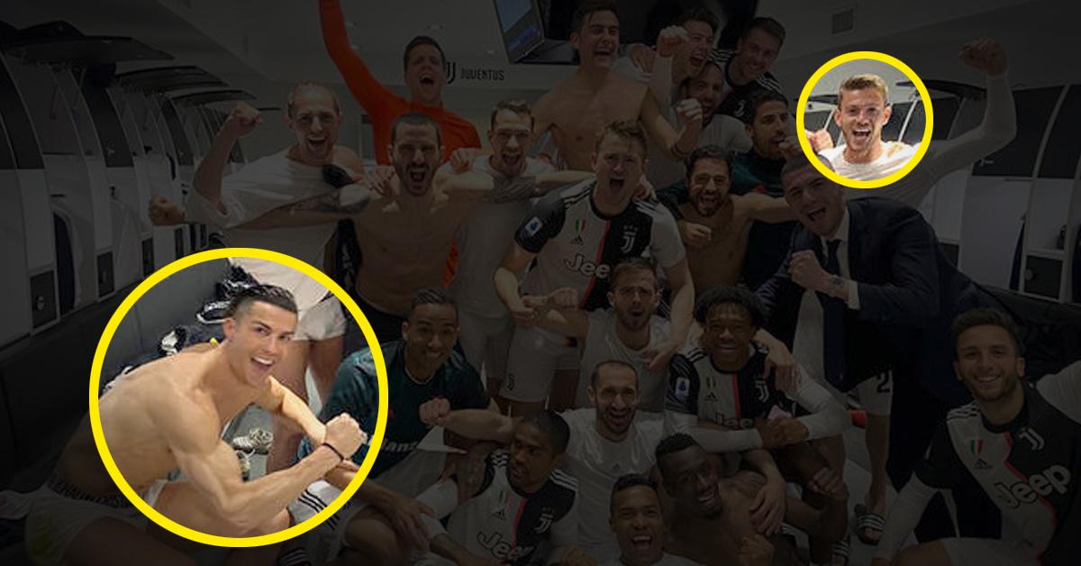 유벤투스는 12일(한국시간) 공식 홈페이지를 통해 루가니(오른쪽 원)가 코로나19 검사에서 양성 반응을 보였다고 밝혔다. 그는 지난 9일 팀이 2대 0으로 승리한 뒤 호날두(왼쪽 원)를 포함한 팀 동료들과 라커룸에서 사진을 함께 찍었다. 루가니 SNS 캡처