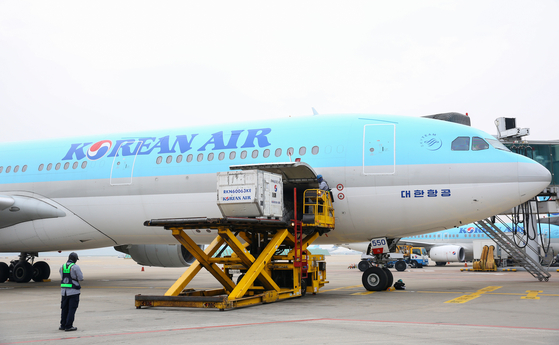 대한항공이 긴급 구호물품 수송에 사용했던 A330 항공기. [사진 대한항공]