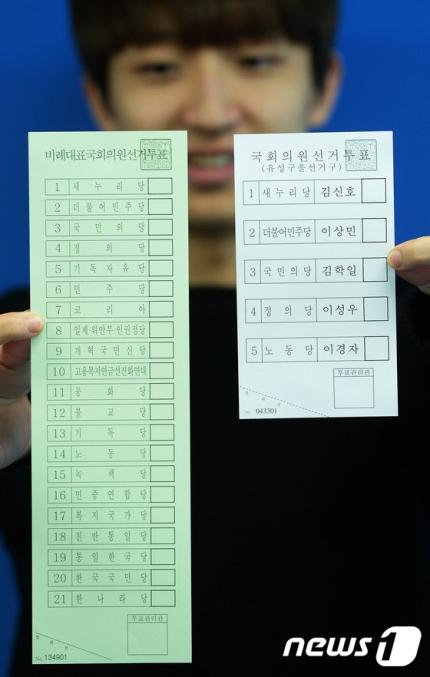지난 2016년 20대 총선 당시 투표 용지. [뉴스1]