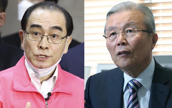 태영호(왼쪽) 전 주영 북한대사관 공사와 김종인 전 더불어민주당 대표. 중앙포토