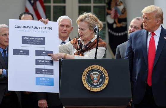 13일(현지시간) 도널드 트럼프 미국 대통령이 기자회견에서 국가비상사태를 선포한 후 데비 벅스 백악관 코로나19 태스크포스(TF) 조정관이 새로운 진단 검사 방식을 설명하고 있다. 로이터=연합뉴스