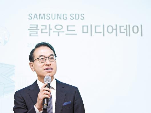 홍원표 삼성SDS 대표가 지난해 9월 춘천 데이터센터의 개원식에서 인사말을 하고 있다. 춘천·상암·수원 데이터센터의 서버를 통합 운영함으로써 신속한 자원 확장이 가능해졌다. [사진 삼성SDS]