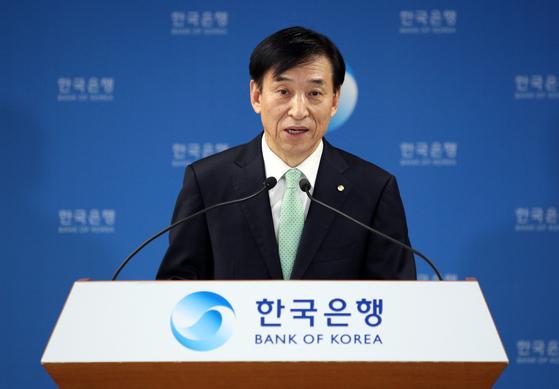 이주열 한국은행 총재가 지난달 27일 정례 금통위 직후 기자간담회에서 발언하고 있다. 한국은행 제공