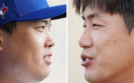 개막이 미뤄졌지만 스프링캠프에 남아 시즌을 준비하는 류현진(왼쪽)과 김광현. [연합뉴스]