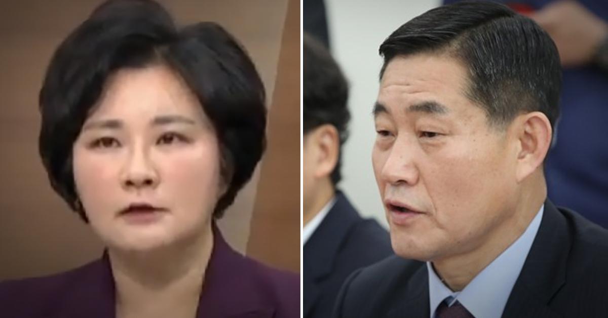 조수진 전 동아일보 논설위원(왼쪽)과 신원식 전 육군 수도방위사령관. 연합뉴스·채널A 캡처