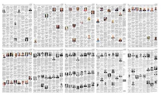 이탈리아 베르가모의 일간지 레코 디 베르가모의 부고 지면. 평소 2~3페이지였던 부고면이 코로나 19 사태로 10~11면으로 증면됐다. 레코 디 베르가모