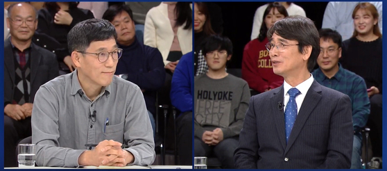 지난1월 1일 JTBC 신년특집 토론회에서 토론 중인 유시민 사람사는세상 노무현재단 이사장(오른쪽)과 진중권 전 동양대교수. JTBC 캡쳐