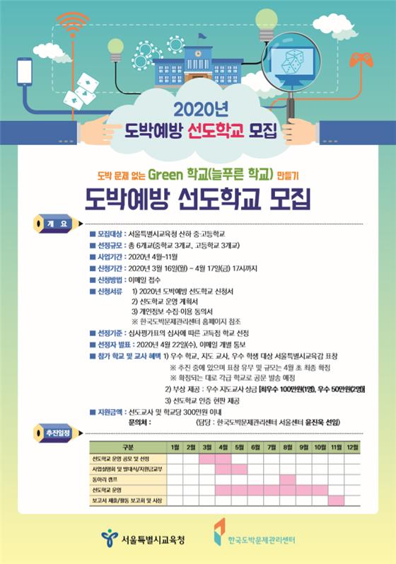 서울특별시교육청·한국도박문제관리센터 서울센터, 도박예방 선도학교 모집
