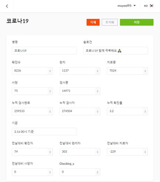 이무열 일병이 개발한 코로나19 현황 웹사이트(https://save-korea.com)의 관리자 페이지.