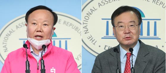 미래통합당 김재원 정책위의장(왼쪽)과 강효상 의원이 서울로 지역구를 옮겨서 치른 4·15 총선 공천 경선에서 나란히 패했다. [연합뉴스]