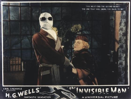 제임스 웨일 감독의 1933년 영화 '투명 인간' 포스터. 영어 원제는 'The Invisible Man'으로 이번 신작과 같다. 당시 원작은 투명인간이 되는 약을 발명한 미치광이 의사 이야기였다. [사진 유니버설 픽쳐스]