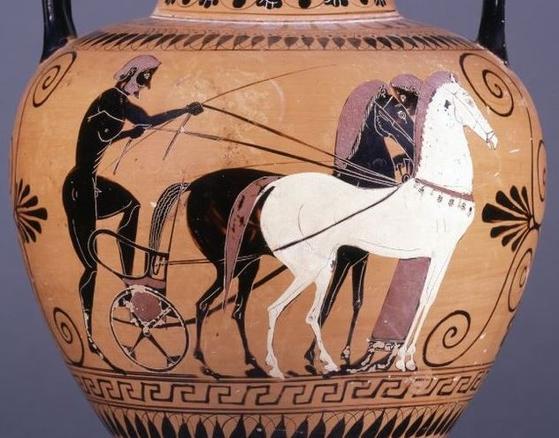 플라톤은 『파이드로스』에서 삶을 비이성적 검은 말과 이성적 흰 말을 몰며 진리를 향하는 마부에 비유했다. [사진 위키피디아]