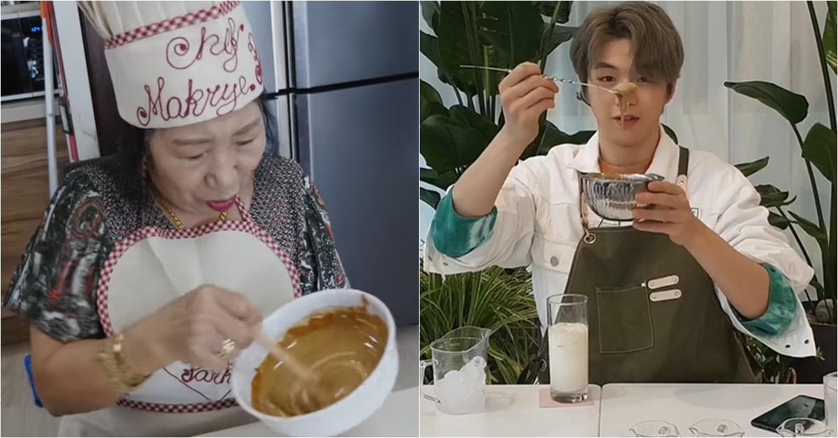 최근 달고나 커피를 직접 만들어 본 유튜버 박막례 할머니(왼쪽)와 가수 강다니엘. [사진 유튜브, 브이 라이브 캡처]