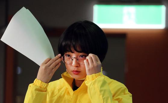 미래한국당 집행정지 등록 신청을 제기했던 류효정 정의당 비례대표 1번 후보자의 모습. [뉴스1]