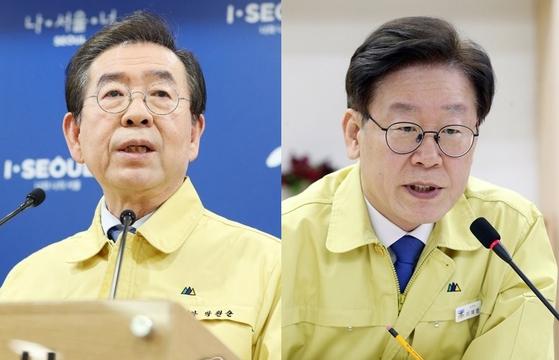 박원순 서울시장(왼쪽)과 이재명 경기지사. [연합뉴스]