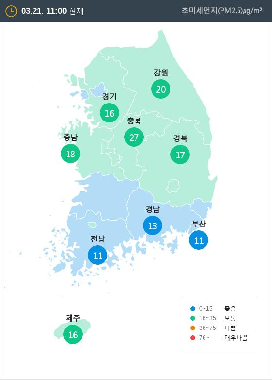 [3월 21일 PM2.5]  오전 11시 전국 초미세먼지 현황