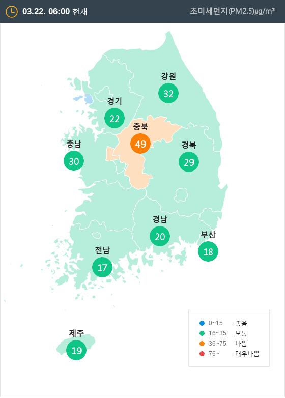 [3월 22일 PM2.5]  오전 6시 전국 초미세먼지 현황