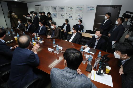 23일 한국배구연맹 사무실에서 열린 한국배구연맹(KOVO) 임시 이사회에서 시즌 종료가 결정됐다. [연합뉴스]