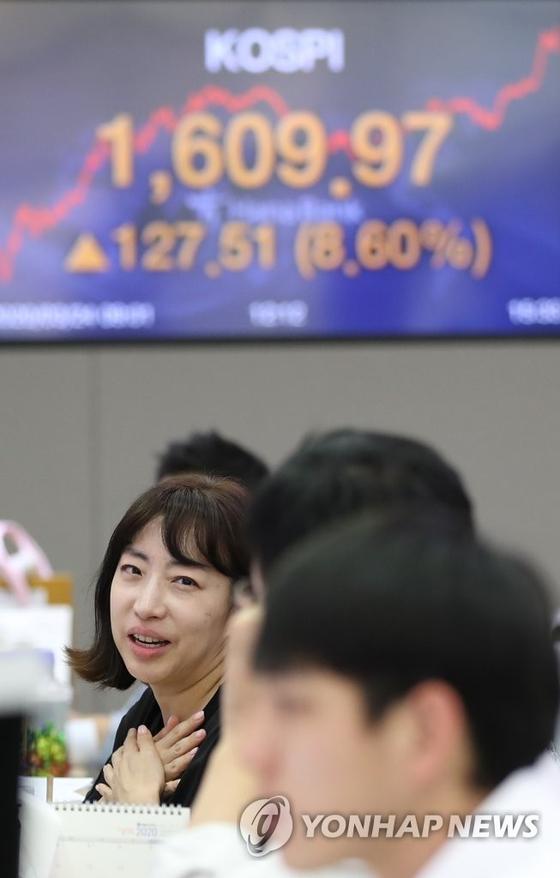 코스피가 급등 마감한 24일 오후 서울 중구 을지로 하나은행 딜링룸에서 직원들이 업무를 보고 있다. 연합뉴스