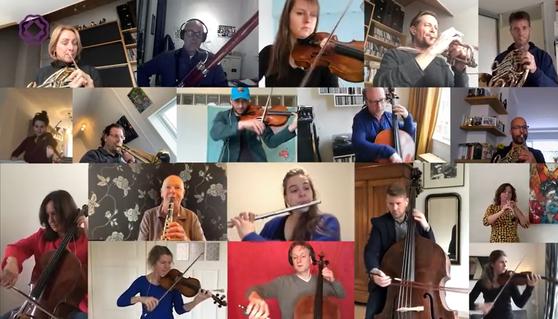 네덜란드의 로테르담 필하모닉 단원들이 지난 20일 유튜브에 업로드한 '집에서 베토벤 9번 교향곡 연주하기' 영상들. [유튜브 캡처]