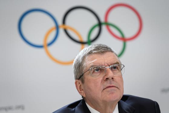 지난 1월 기자회견에 참석한 토마스 바흐 국제올림픽위원회(IOC) 위원장. [AFP=연합뉴스]