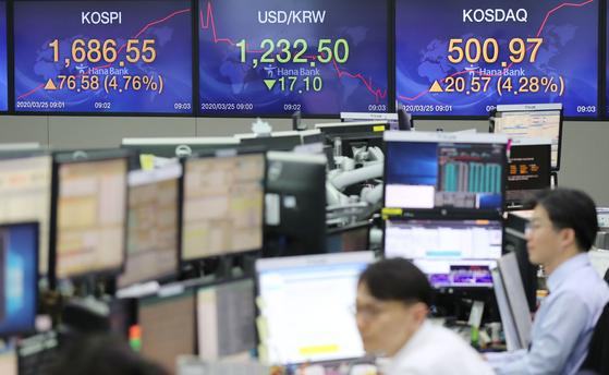 25일 오전 서울 중구 KEB하나은행 딜링룸에서 딜러들이 업무를 보고 있다. 연합뉴스