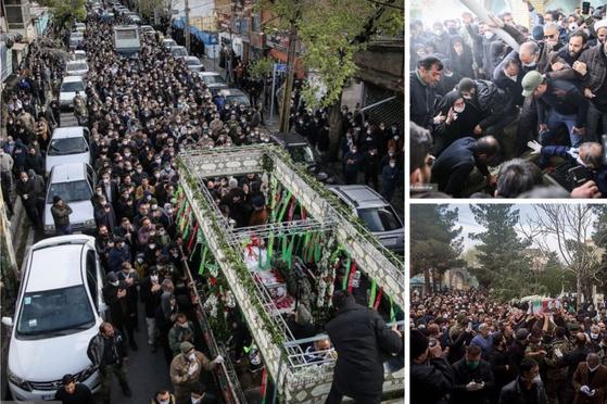 이란 혁명수비대 호세인 아사돌라히 사령관의 장례식에는 수백 명의 인파가 몰렸다. [키아누시 자한푸르 트위터 캡처]
