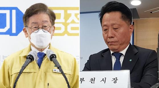 이재명 경기도지사(왼쪽)와 장덕천 부천시장. 사진 경기도, 페이스북 캡처