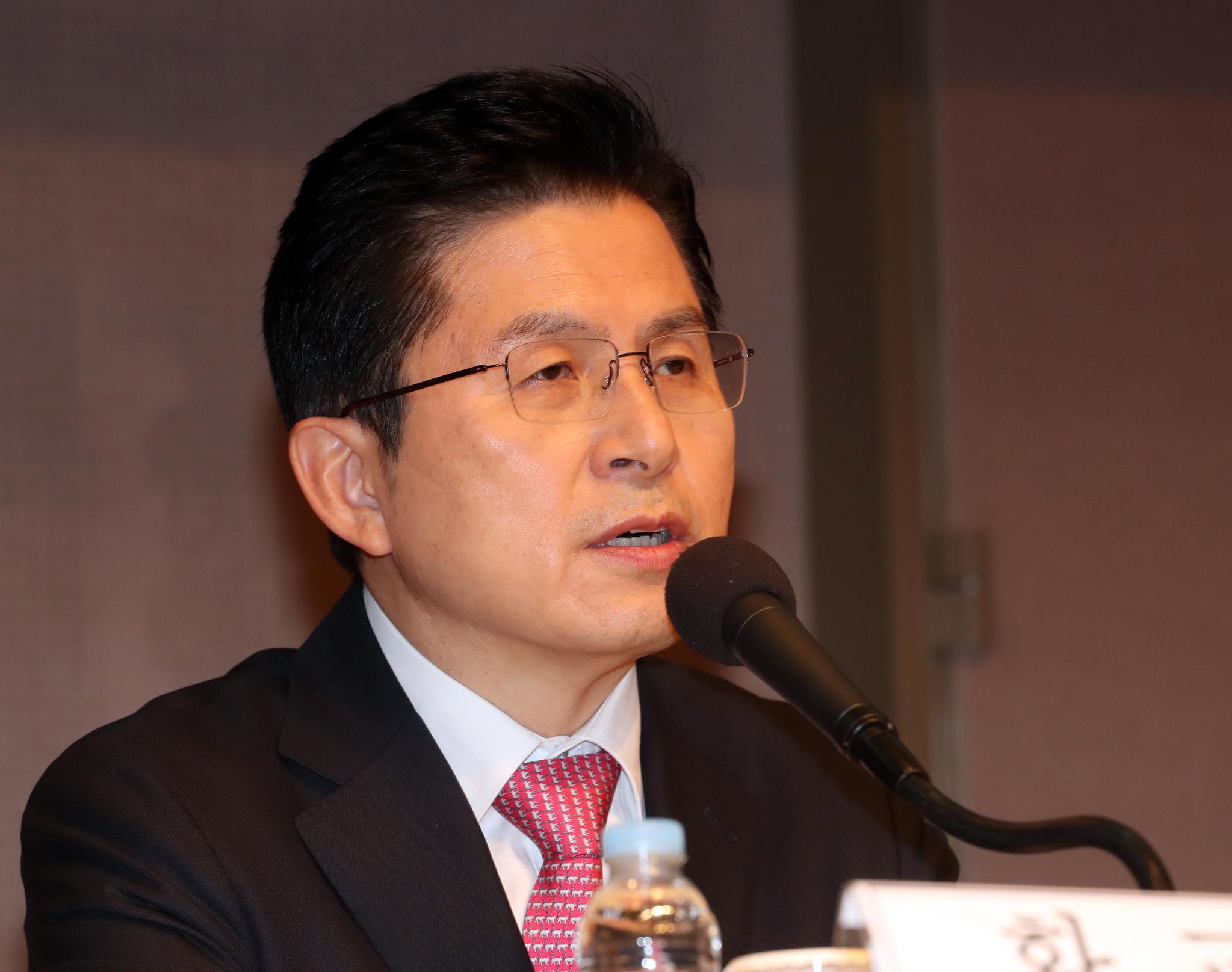미래통합당 황교안 대표가 25일 오전 서울 한국프레스센터에서 열린 관훈토론회에서 발언하고 있다. 연합뉴스