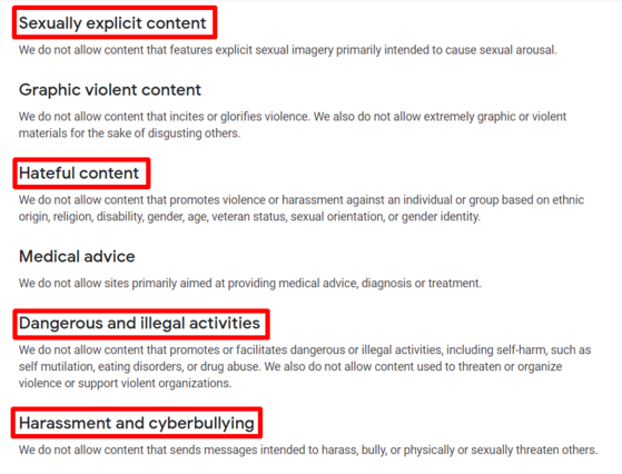 """구글의 콘텐트 정책. """"구글은 ▶성적 노출 ▶차별·혐오 ▶불법 행위 ▶사이버 불링(Cyber Bullying) 등을 모두 엄격히 금지한다""""고 명시돼있다. [사진 구글]"""