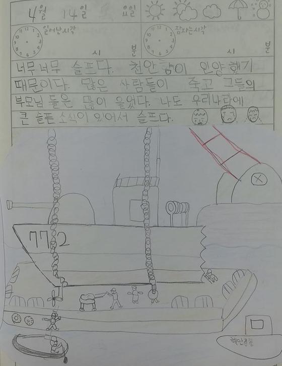 권현우 생도가 2010년 천안함 피격 당시 심정을 담은 그림일기. [해군 페이스북 캡처]