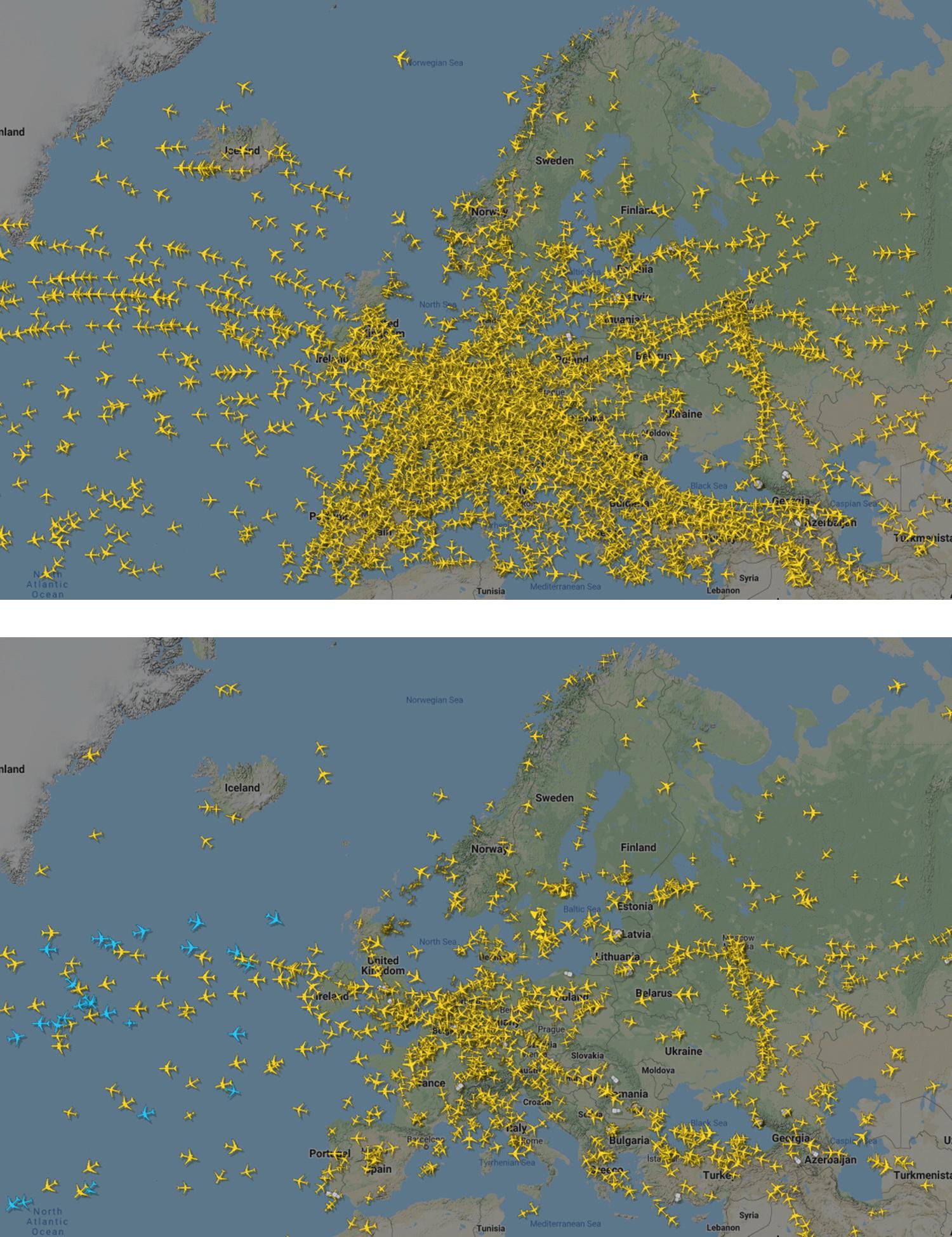 지난해 12월 18일(위)과 올해 3월 25일의 유럽 항공 교통 상황. 코로나 19로 항공편이 격감한 걸 알 수 있다. AP=연합뉴스