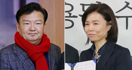 민경욱(왼쪽) 미래통합당 의원, 새로운보수당 출신 민현주 전 의원. [연합뉴스]