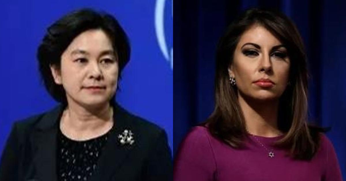 화춘잉 중국 외교부 대변인(왼쪽)과 오테이거스 미국 국무부 대변인. 환구시보 캡처=연합뉴스