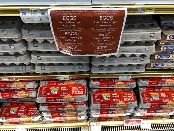 사재기로 인해 미국 LA의 한 마트는 1인당 12개들이 달걀 한 팩만 사도록 제한했다. [AP=연합뉴스]